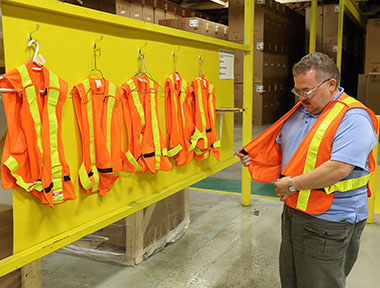 As part of its safety initiatives, the team in Fergus implemented a pedestrian safety program for the distribution center that includes high-visibility vests and designated walkways.  The Fergus facility today received the 2016 Lloyd B. Smith President's Safety Award.