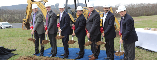 (left to right) Ken Moore, mayor of Franklin; Eric Stuckey, Franklin city administrator; Ken Largen, president of Williamson, Inc.; Paul Dana, Rogers Anderson, mayor of Williamson County; Ajita Rajendra, president and CEO; Bill Godwin of BACAR Constructors
